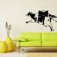 Cow Decal Milk Funny Fly Animal Wall Decals - Wall Vinyl Decal Sticker Interior Home Decor Vinyl Art - Wall Decor Bedroom Living Room SV5332