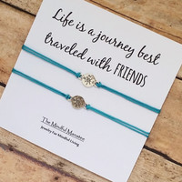 """Silver Compass Friendship Bracelet Set With """"Life Is A Journey Best Traveled With Friends"""" Card   BFF, Best Friend Matching Gift Jewelry"""