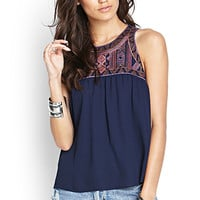 FOREVER 21 Embroidered Woven Tank Navy/Brown