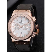 Hublot men and women tide brand fashion casual fine watch F-PS-XSDZBSH Dark gray wristwatch + gold case + white dial