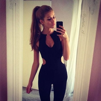 2015 Black Hollow Out Women Jumpsuit O-neck Rompers Women Sexy Playsuit Club Bodysuits Elegant Overalls for Women = 1956587140