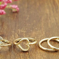 4PCS/Set Rings Urban Gold Plated Crystal
