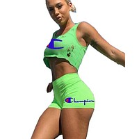 Champion Fashion New Letter Print Hole Sports Leisure Top And Pants Two Piece Suit Fluorescent Green