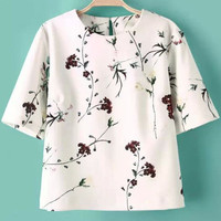 White Short Sleeve Floral Cropped T-Shirt