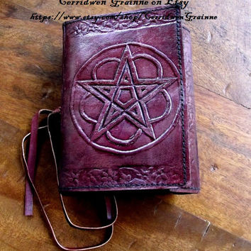 Pentagram Grimiore, Leather Journal, Interwoven Circle, Wiccan, Book Of Shadows, Spell Book, Wicca, Pagan, Witches Journal, BOS