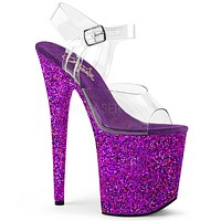 "Flamingo 808LG Purple Hologram Glitter 8"" Heel Clear Strap Platform Shoe"