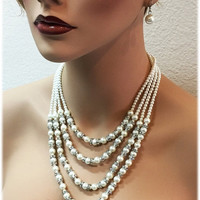 Gorgeous bridal jewelry set, bridal necklace, Multi strand Ivory pearl necklace earrings, formal jewelry,vintage inspired crystal necklace