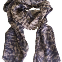 Loro Piana Chestnut and Blueberry Lynx Print Cashmere and Silk Scarf