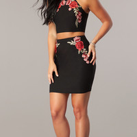 Two-Piece Homecoming Dress with Embroidered Applique