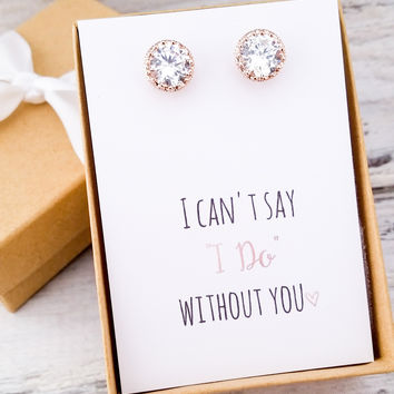 Rose Gold/Silver Round CZ Studs