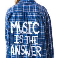 Jac Vanek Music is the Answer Flanner Shirt Plaid