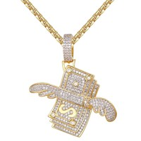 Men's  Dollar Stack With Wings Pendant