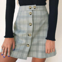 Fashion female multi-color plaid high waist single-breasted short skirt autumn and winter new