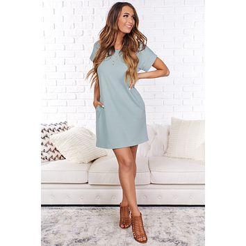 Make This Moment Last T-Shirt Dress (Sage)