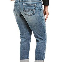 Silver Jeans Co. Women's Plus Size Sam Mid Rise Boyfriend Jeans, Medium Vintage New, 16x27