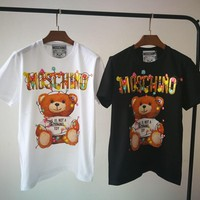 """Moschino"" Women Casual Letter Cute Cartoon  Bear Cub Print Short Sleeve T-shirt Top Tee"
