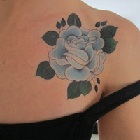Blue Traditional Rose Hand Drawn Large Temporary Tattoo