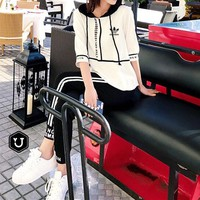 """""""Adidas"""" Women Casual Multicolor Letter Print Hooded Short Sleeve Trousers Set Two-Piece Sportswear"""