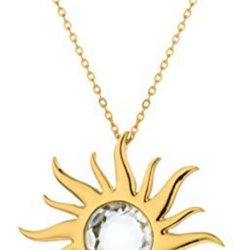 Goldtone Large Sun Pendant with Clear Stone and an 24 Inch Chain Necklace Jewelry Set