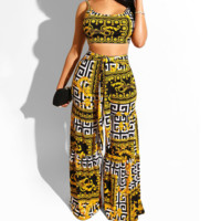 New milk silk printed pantalettes with fake waist belts