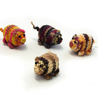 New collection- brown and cream striped piggy knitted baby toy, little pigs stuffed toy, handknit