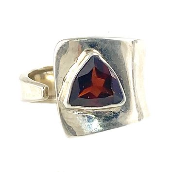 Garnet Sterling Silver Adjustable Trillion Cut Ring