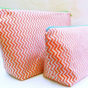 Coral Orange and Shiny Silver Chevron Medium Travel Makeup/Cosmetics Bag with Matching Large Toiletries Travel Set with Green & Blue Zipper