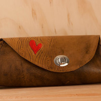 Leather Clutch Purse - Red and antique brown - Nice pattern with wood grain and heart