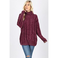 Chenille Cowl Neck Sweater - Plum