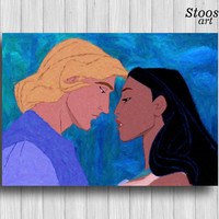 john smith and pochahontas print disney watercolor pochahontas art disney love