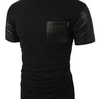 LE3NO Mens Quilted Faux Leather Short Sleeve T Shirt