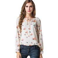Beige Graphic Print Long Sleeves Neck-Tying Chiffon Blouse