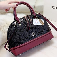 Hipgirls COACH Fashion pattern leather shopping leisure shell shape handbag shoulder bag crossbody bag
