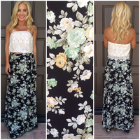 See You Bloom Tied Front Maxi Skirt - BLACK & GREEN