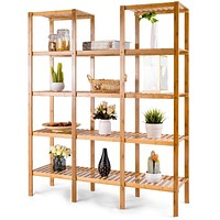 Bamboo Wood 4-Shelf Bookcase Plant Stand Shelving Unit