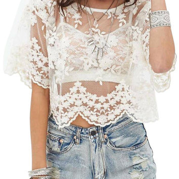 White Sheer Patterned Top not available