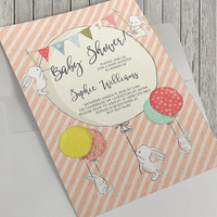 Printable Baby Shower Invitation, 5x7 In, White Bunnies and Balloons, Baby Girl Baby Shower, Colorful Balloons, Pink Stripes, White Rabbits