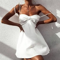 Summer Sexy Women Pure White Halter Strapless Sleeveless Fold Dress