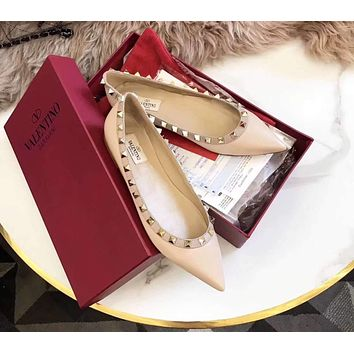 Valentino Trending Women Stylish Single Shoes Flat Pointy Shoes Apricot I-AHD-HNXG-ZD