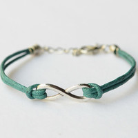 Silver Infinity Bracelet With Teal Wax Cord, Birthday Gift, Vintage bracelet, Gift, Blessing Bracelet