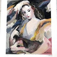 Marie Laurencin, engraving of interpretation,Woman and dog, woman portrait, gilded youth girl, Animal, pets, French, vintage,