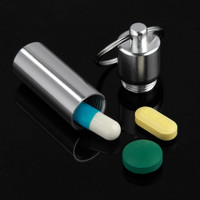 Key Holder Aluminum Waterproof Pill Shaped Box Bottle Holder Container Keychain medicine Keyring keychain box