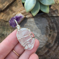 Crystal Pendant: Quartz Crystal Wrapped with Silver Wire, Wire Wrap, Pendant, Crystal Necklace, Quartz