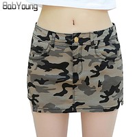 BabYoung 2017 Summer Womens Skirts Military Camouflage Denim Skirt Cotton Pockets Sexy Mini Pencil Skirts Female Workout Shorts