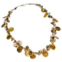 Crochet Necklace Wire Copper Capiz Shell, Mother of Pearl and Pearl Necklace | Whisperingtree.net