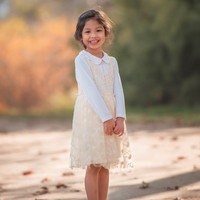 Ivory Crochet-Bodice Tank Dress - Infant & Kids