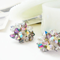 Vintage Crystal Earrings, Aurora Borealis, Cluster Clip On Earrings, Smoky Taupe AB Crystal, Retro Fashion