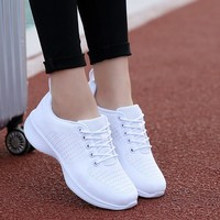 White Fly Line Jogging Shoes for Women Outdoor Breathable Sneakers Female Spring Autumn Sport Running Shoes Travel Tennis  Shoes