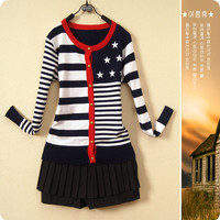 Stars And Stripes Print Button Long Sleeves Knitted Sweater