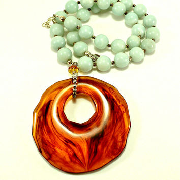 """Larimar Stones & Sterling Silver 925 Beads w/ Amber Laticia Pendant Necklace 17"""""""